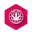 white legalize marijuana or cannabis globe symbol vector image vector image