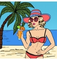 Woman in Swimsuit with Cocktail Pop Art vector image vector image