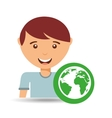 happy boy globe environment sign vector image