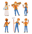 male and female workers in uniform engineers and vector image