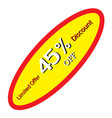45 off discount price tag round price tag vector image vector image