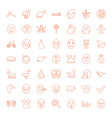 49 cute icons vector image vector image