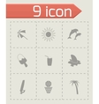 black summer icons set vector image vector image