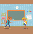 boy and girl pupils in school classroom vector image vector image