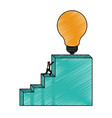 businessman pushing stair block structure with vector image vector image