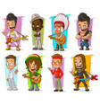 cartoon cool funny different characters set vector image