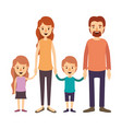 colorful image caricature family group with vector image