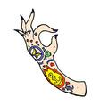 comic cartoon tattoo arm vector image vector image