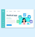 consultation with doctor online medical app vector image vector image