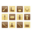 cosmetic and make up icons over brown background vector image vector image