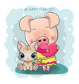 cute drawing piggy girl and kitten isolated on a vector image vector image