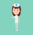 cute nurses and medical staff hold syringe vector image