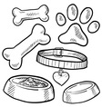 doodle pet dog tag bone paw print biscuit vector image vector image