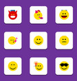 flat icon face set of happy joy have an good vector image vector image
