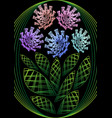 flower in embroidery design multicolored fantasy vector image