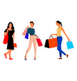 girls coming from the shopping vector image