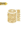 Gold glitter icon of toilet isolated on vector image