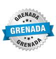 Grenada round silver badge with blue ribbon vector image vector image