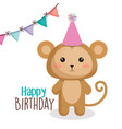 happy birthday card with tender animal vector image vector image