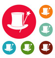 hat with a wand icons circle set vector image
