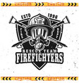 head firefighter in gas mask emblem vector image vector image