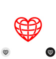 Heart earth globe shape linear weaved logo vector image vector image