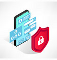 isometric internet security smartphone isolated vector image vector image