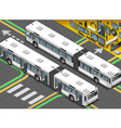 Isometric Long Bus in Rear View with open doors vector image vector image