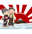 Japanese couple with moutain view background