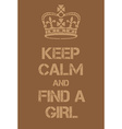 Keep Calm and Find a Girl poster vector image