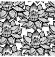 lotus ink hand drawn seamless pattern vector image vector image