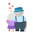 lovely elderly couple walking together vector image