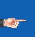 male hand with pointing index finger vector image