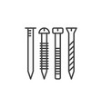 nail and screw concept icon in thin line vector image