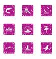 onshore fish icons set grunge style vector image