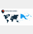 papua new guinea map located on a world map vector image vector image