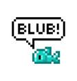 pixel cute fish says blub 8-bit vector image vector image