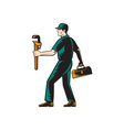 Plumber Walking Carry Toolbox Wrench Woodcut vector image vector image