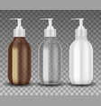 realistic glass and plastic bottle with dispenser vector image vector image