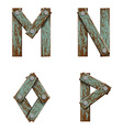 set letters from boards with nails vector image vector image