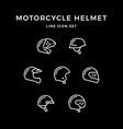 set line icons motorcycle helmet vector image vector image