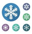 Set of flat snowflakes icons