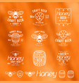 set of honey beer labels badges and design vector image vector image