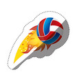 sticker colorful olympic flame with volleyball vector image vector image
