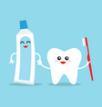 tooth holding toothpaste and toothbrush vector image vector image