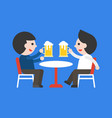 two business man drinking beer together rest vector image