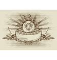 Vintage banner with face of the sun vector image vector image