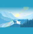 winter mountain landscape with deer vector image vector image