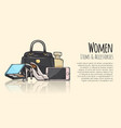 women items and accessories fashionable web banner vector image vector image