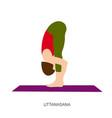 yogi woman in uttanasana or padahastasana pose vector image vector image